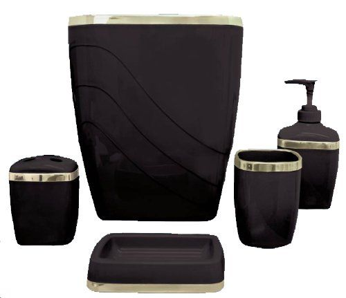 Carnation Home Fashions 5-Piece Plastic Bath Accessory Set, Black Carnation Home Fashions http://www.amazon.com/dp/B004AYMB86/ref=cm_sw_r_pi_dp_6DlTtb1NM5ABRZC9