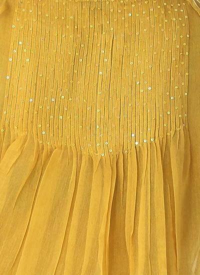 Yellow Cotton Silk Sequin Dress