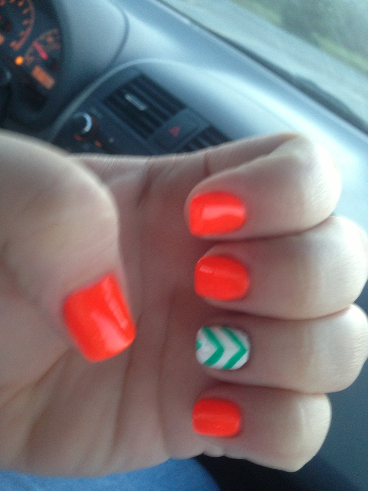 Orange teal chevron nails summer I just wish the orange was a little less neon for the nail with the white