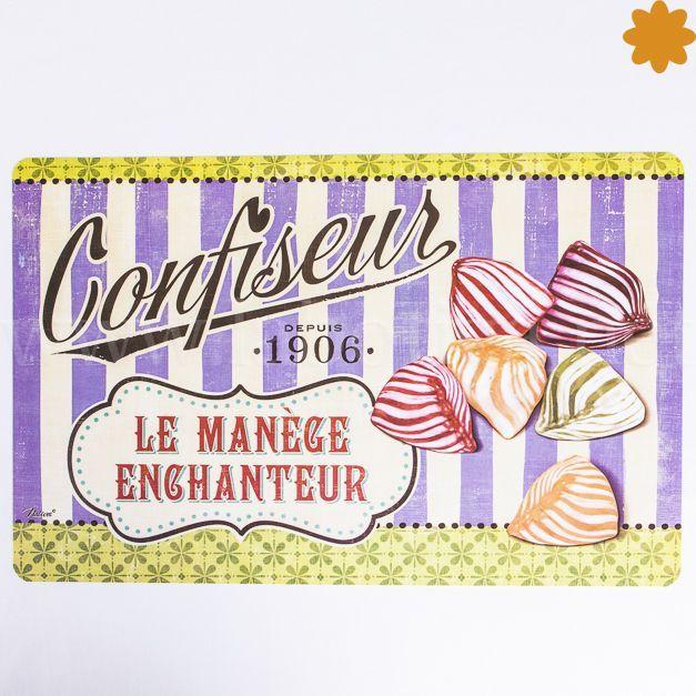 """Dulce<strong>Mantel individual con Caramelos <em>""""Confiseur le Manège Enchanteur Depuis 1906""""</em></strong>.Es un dulce regalo para la casa. Este mantel esta decorado con<strong>caramelos de rayas de colores lila, verde, rojo, marrón</strong><strong>.</strong>Este mantel se vende por unidades, puedes comprar cuantos desees, pero tienes otros manteles de la misma colección, para completar conjuntos, y coleccione..."""
