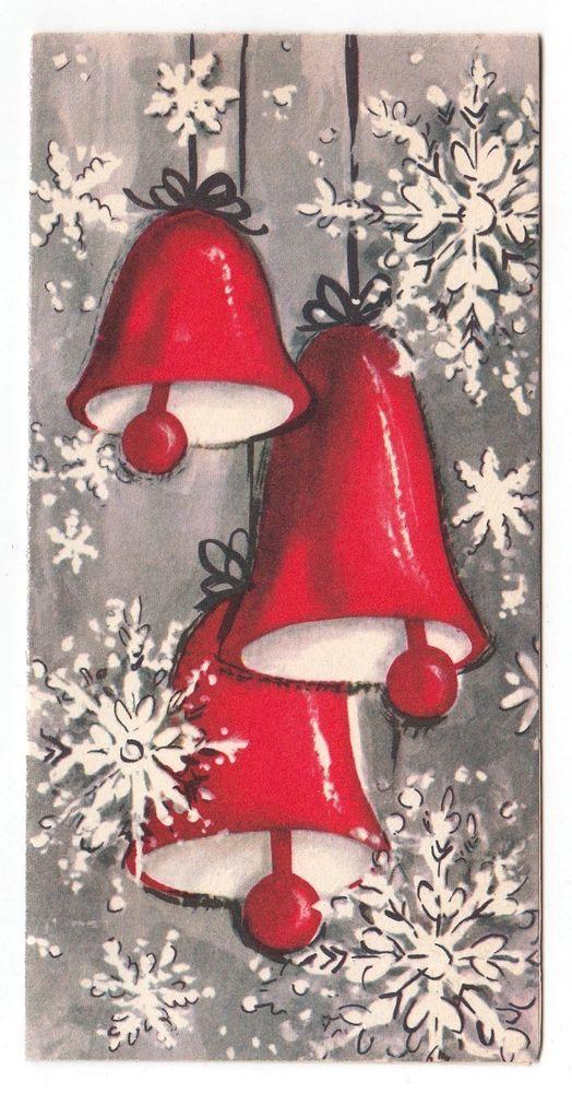 Vintage Greeting Card Christmas Bells Snowflakes Gibson Mid-Century