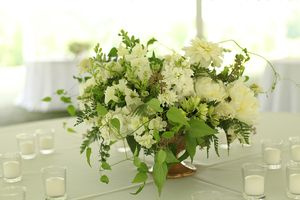 White Centerpieces At French Park By Cincinnati Wedding Florist