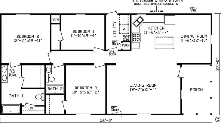 20 x 60 homes floor plans google search small house for Double wide floor plans with basement