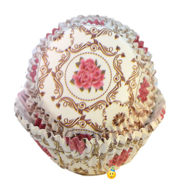 Pattern Cupcake Cups - Vintage Rose Tea Party Designer Baking Liners