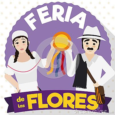 Poster in flat style and long shadow with traditional arriero couple celebrating Colombian Festival of the Flowers written in Spanish.