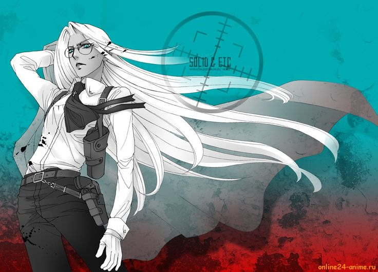 Blood Blue Eyes Glasses Gloves Hellsing Holster Integra Solidetc Solo Tagme White Hair