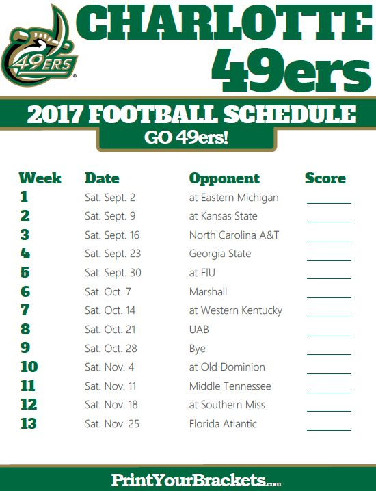 2017 Charlotte 49ers Football Schedule