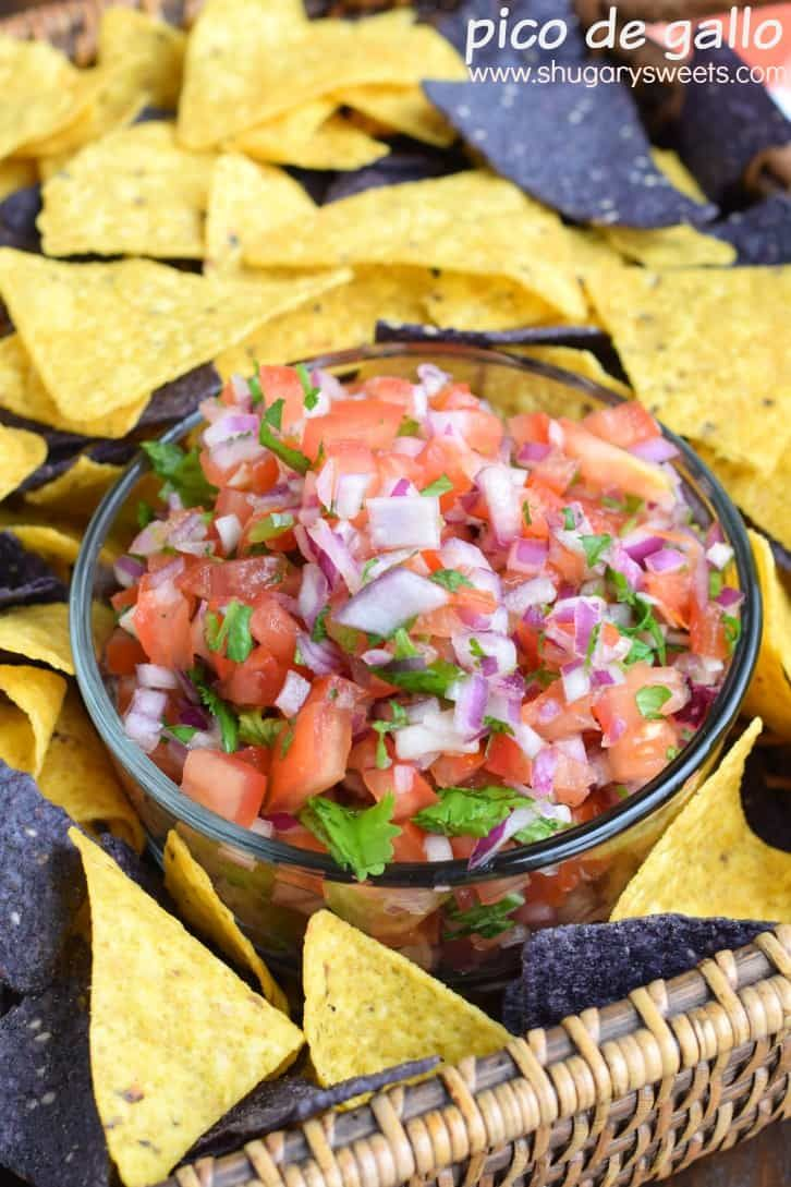 This delicious, easy Pico de Gallo recipe is made from fresh tomatoes, onion, jalapeno, and cilantro, with a touch of salt and lime juice! Fresh and crisp!