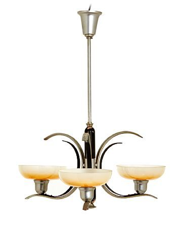 CHANDELIER  Art deco. 3 armed. 1900s first half.  Suspension in nickel plated metal and black painted wood. Domes in opalinglass.