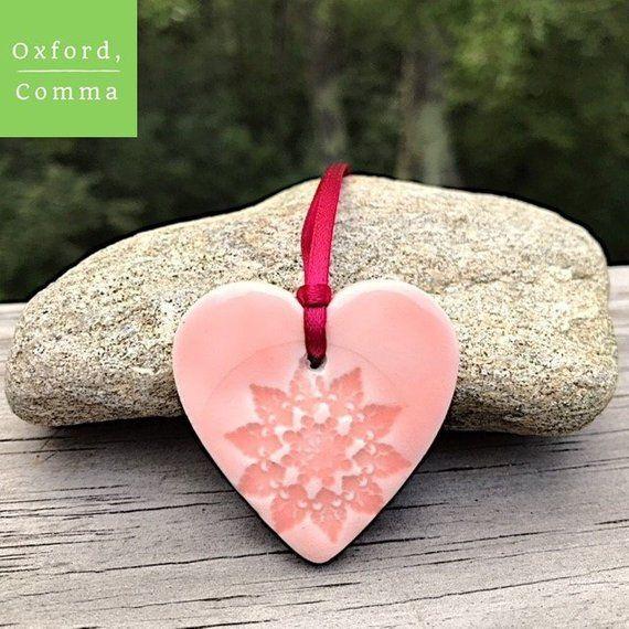 Clay Heart Ornament Heart Decor Heart Gift Pink Heart Hanging Heart Heart Decoration Heart Tag Wedding Favor Heart Decorations