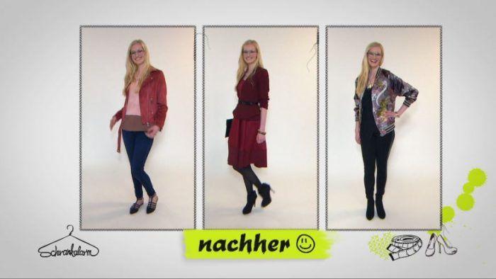 Mit Farben und Mustern kann man spielen - das wollen die 'Schrankalarm'-Experten Isabell beweisen. Eine rote Lederjacke verleiht ihr einen ganz neuen Look!