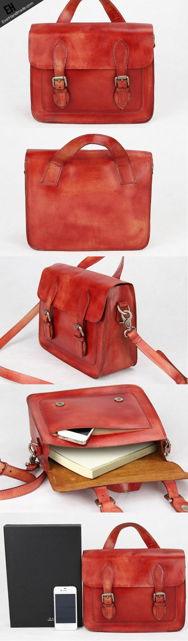 Handmade red vintage leather Satchel Bag crossbody Shoulder Bag for gi | EverHandmade