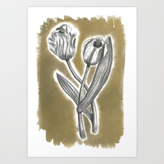 This is my Charcoal drawing. The flowers are so amazing, what best idea to surround them with the gold.  this is part of a set, you can set it together or separately