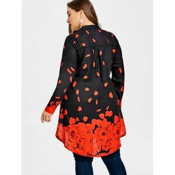 Plus Size Valentine Rose Petal Tunic Top - BLACK/RED XL
