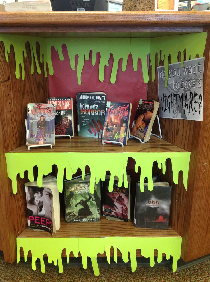 Last minute Halloween ideas for the school library! #bookcase #slime #Halloween