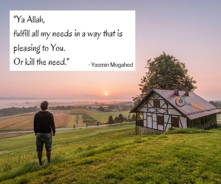 """ya ALLAH, fulfill my needs in a way that's pleasing to You. or kill the need."" _Yasmin Mogahed"