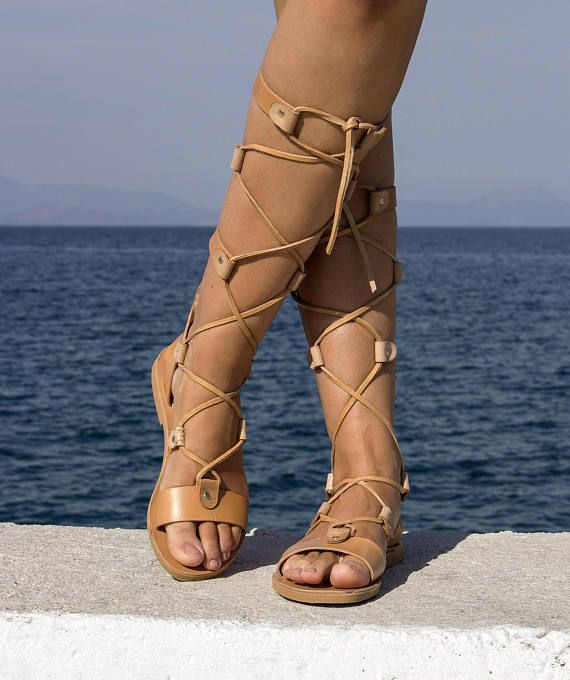 Handmade Natural Leather High Knee  Gladiator Sandals Full