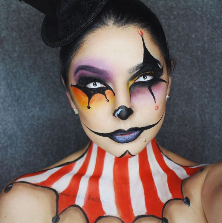 This carnival makeup is pretty freaky.