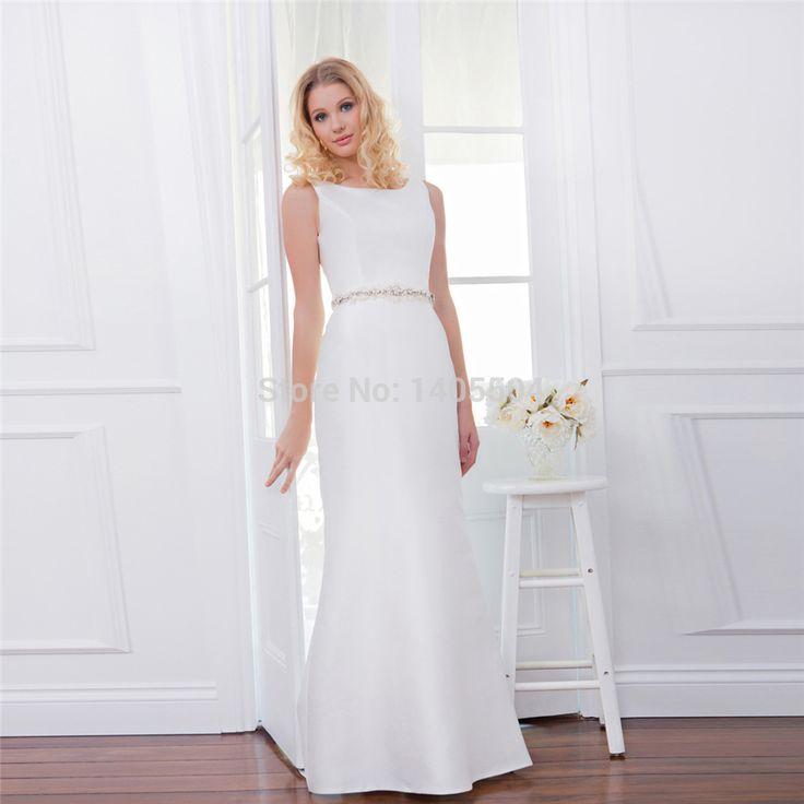 Pearls Sheath Maxi Dress Wedding Dresses Vestidos de noiva Beads 2015 New Arrival Bridal Gowns crystals Rhinestone Fold Flower