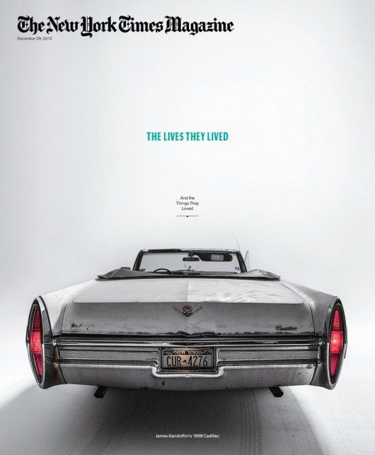 New York Times Mag Dec 29 2013. This New York Times Magazine cover features James Gandolfini's beat-up Cadillac convertible to represent the theme 'The Lives They Lived (And The Things They Loved).' The car is photographed to demonstrate perspective going towards a vanishing point. The size and positioning of the subtitle adds to this effect.