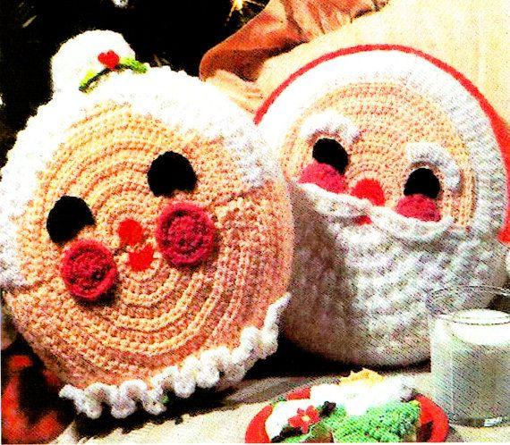 Last-Minute CHRISTMAS Retro Mr & Mrs Christmas Pot Holders Crochet Pattern PDF....Gorgeous Lookx
