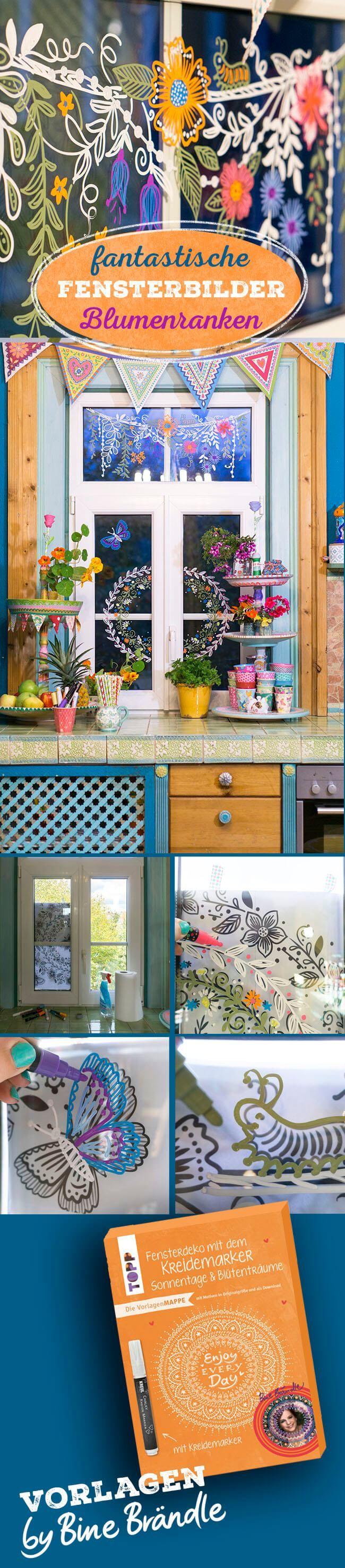 Vorlagenmappe Sonnentage & Blütenträume: Tolle DIY Idee ganz einfach zum Abpausen und Malen! Mit Hilfe der Vorlagen fantastische Blüten und Ranken mit einem abwischbaren Kreidemarker auf die Fenster malen.