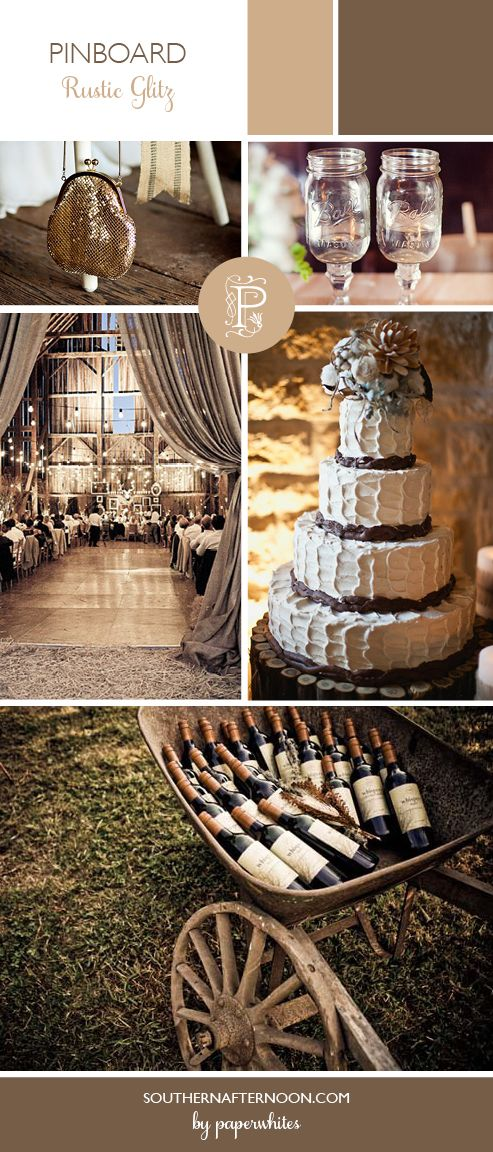 Rustic Glitz Wedding Inspiration by Paperwhites, a stationery boutique -- shades of taupe, beige and tan