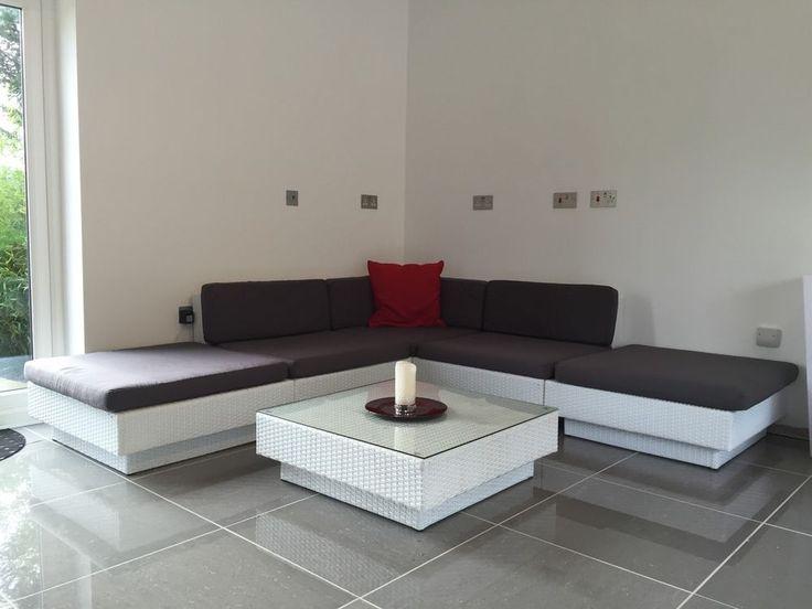 Contemporary Rattan Corner Sofa Set In White Rattan