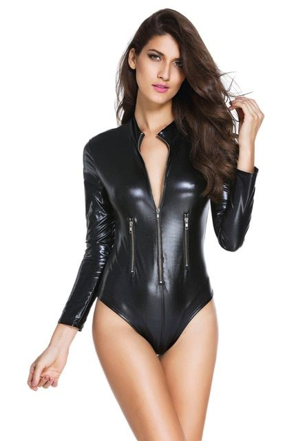 36aeffbcc07 Black Wet Look Cat Costume PVC Erotic Halloween Cat Costume kits Latex Sexy  wet look lace up teddy Leather Lingerie 3259