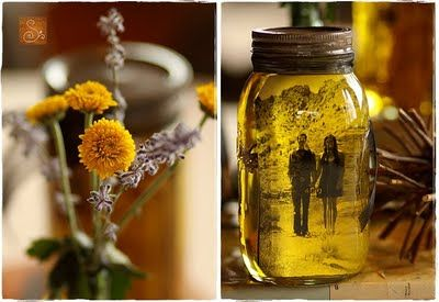 mason jar + olive oil + photo = recipe for AWESOME: Olives Oils, Masons Jars Pictures, Masons Jars Centerpieces, Non Floral Centerpieces, Mason Jars, Masonjar, Photo, Pictures Frames, Centerpieces Idea