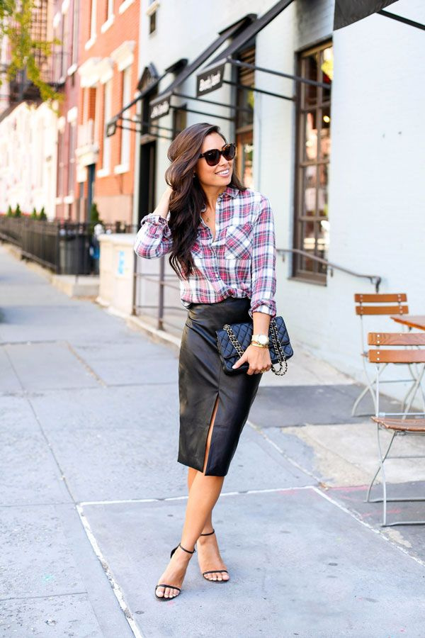 Leather + Plaid.