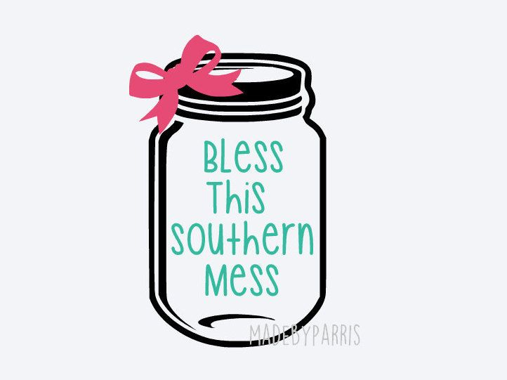 Bless This Southern Mess Mason Jar Vinyl Decal, Mason Jar Decal, Southern Decal, Car Decal, Yeti Decal, Bow Decal, Country Decal, Southern by MadeByParris on Etsy
