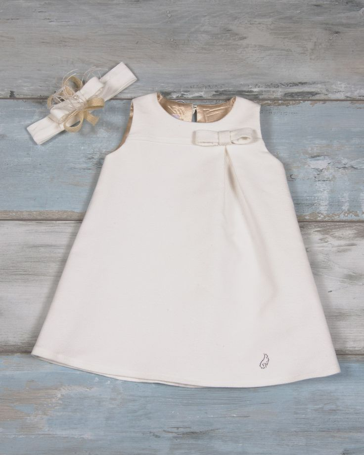 Dress with bow made of tricot velour fabric and gold croco lining | Maching headband with bow and pearl