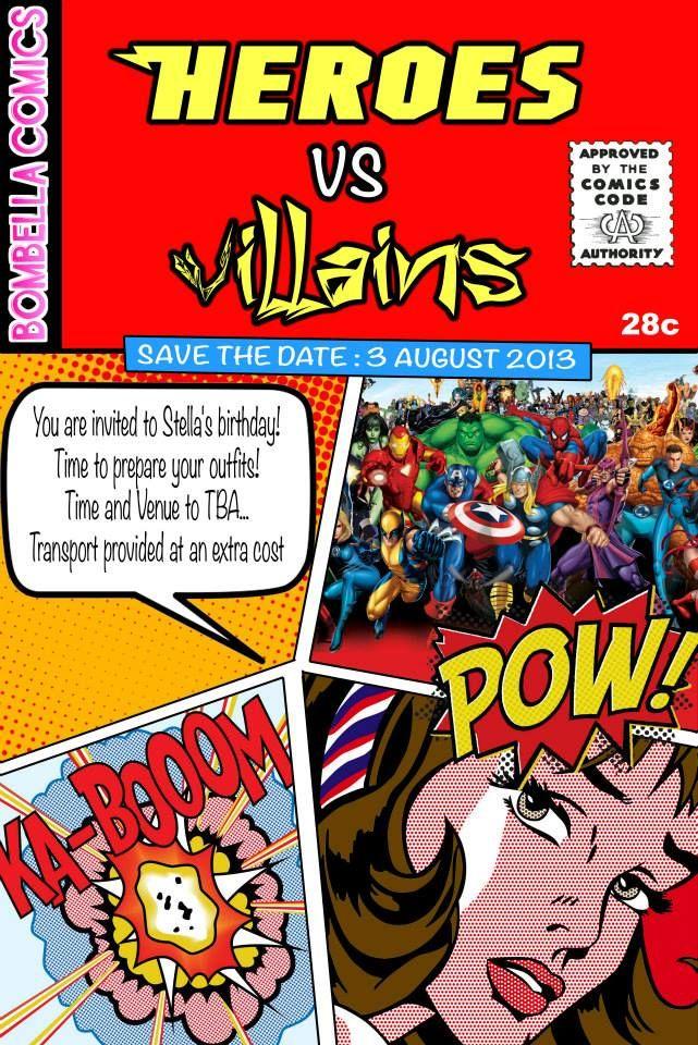 heroes vs villains birthday invitation