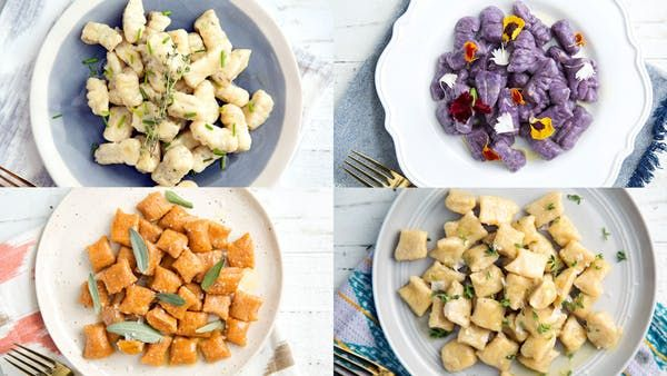 Beautify your dinner plates with gnocchi varieties such as purple yam, sweet potato, plantain and more. Ingredients: 2 small sweet potatoes or 1 large, 1 to 1 1/2 cups all-purpose flour, 1/2 cup Parmesan cheese, grated, 1 teaspoon cinnamon, Salt and pepper