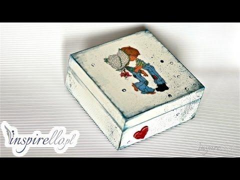 Decoupage krok po kroku - pudełko z Jasiem i Małgosią - YouTube