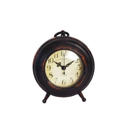 Colonial Collection Rustic Mantel Clock With Handle | Dunelm