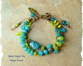 Boho Turquoise Bracelet gelaagde rustieke stenen door BohoStyleMe