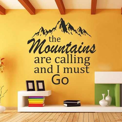 The Mountains Are Calling And I Must Go Forest Rustic Wall Decal Home Decor  Living Room Part 76