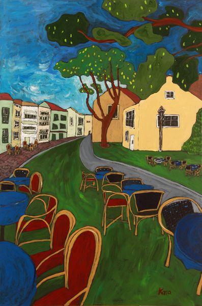 """KARA ASILANIS  """"Bardos Town""""  Acrylic on Canvas  36"""" x 24"""""""