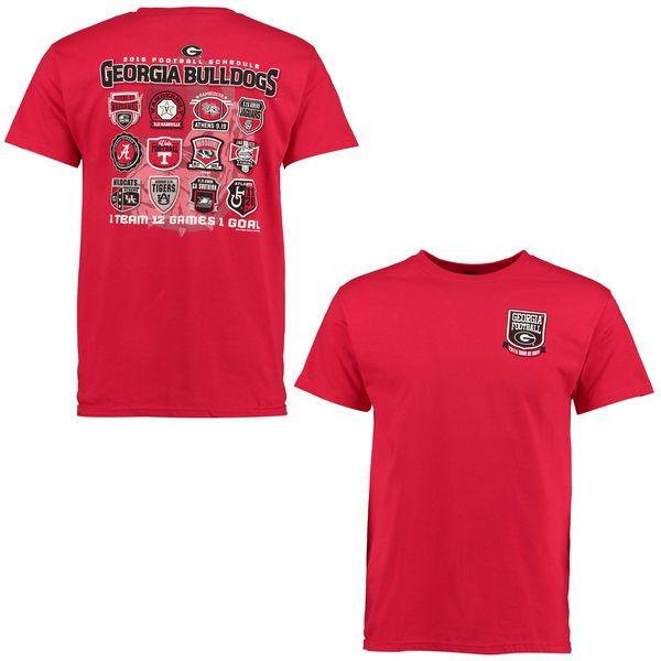 Georgia Bulldogs 2015 Football Schedule Patch T-Shirt - Red - $14.99