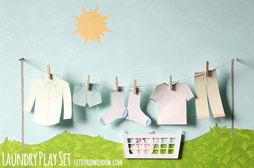 DIY Laundry Play Set | littleredwindow.com | Make a sweet laundry play set with a real clothesline for your little one!