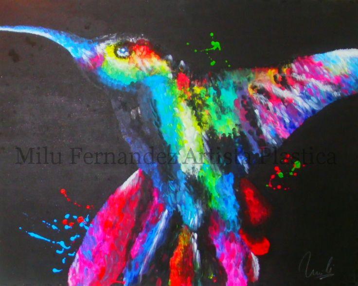 Colibrí multicolor (acrílico)