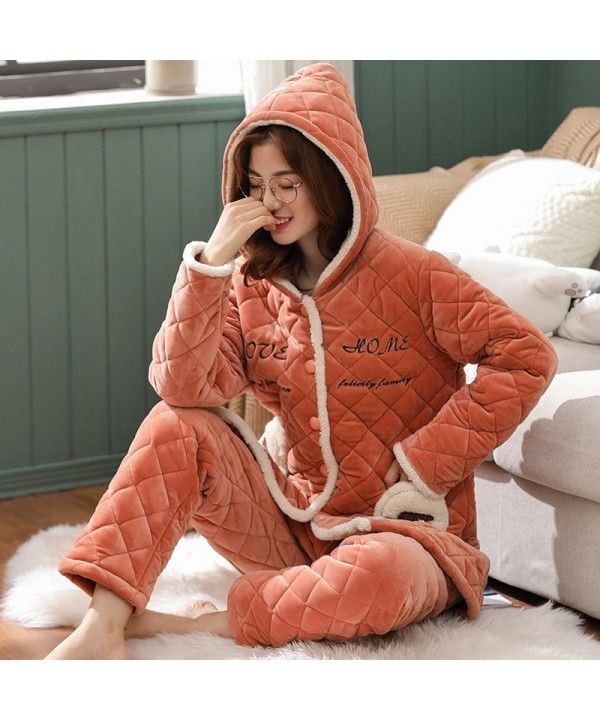 Thickened Cotton Flannel Warm Coral Flannel Pajamas Cotton Jacket Suit in  Autumn and Winter 47b622053
