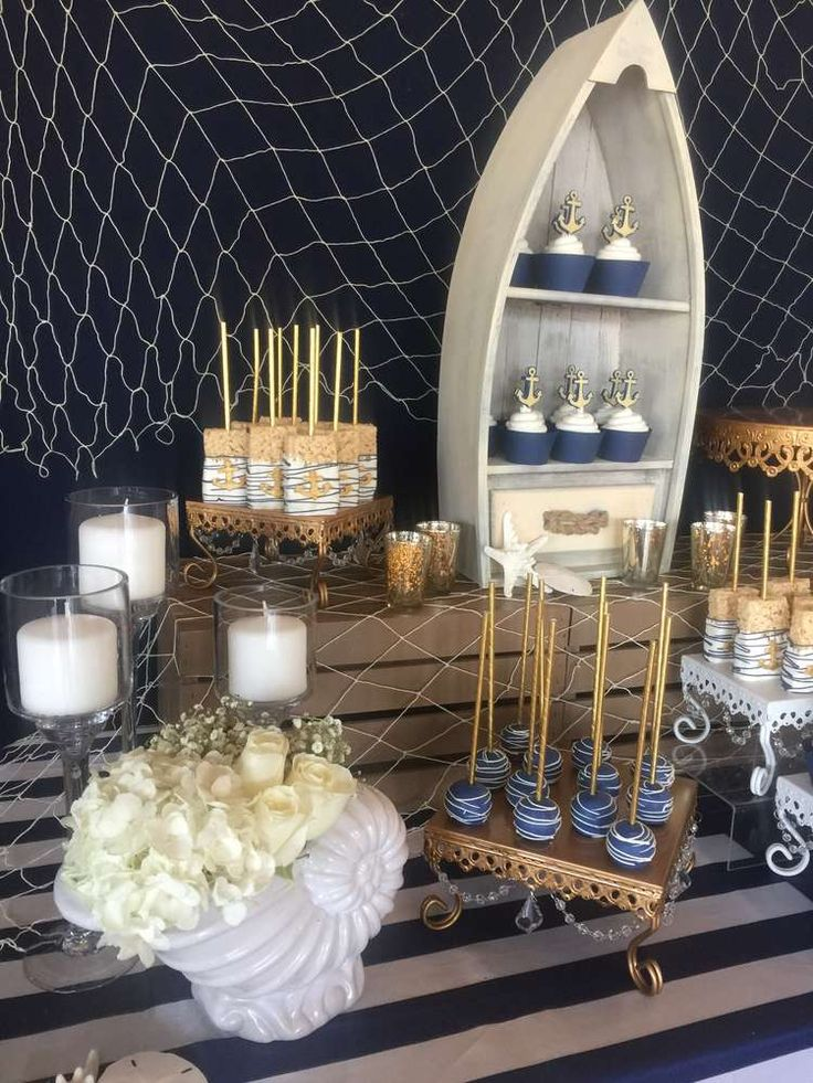 Check out this nautical wedding party! See more party planning ideas at CatchMyParty.com!