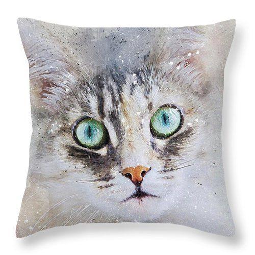 Cat Throw Pillow featuring the digital art Watercolor Cat Face by Oksana Ariskina  #OksanaAriskina   #HomeDecor #FineArtPrint #BuyArtOnline #PrintsForSale #Cat #Illustration #Paint #Abstract #Watercolor
