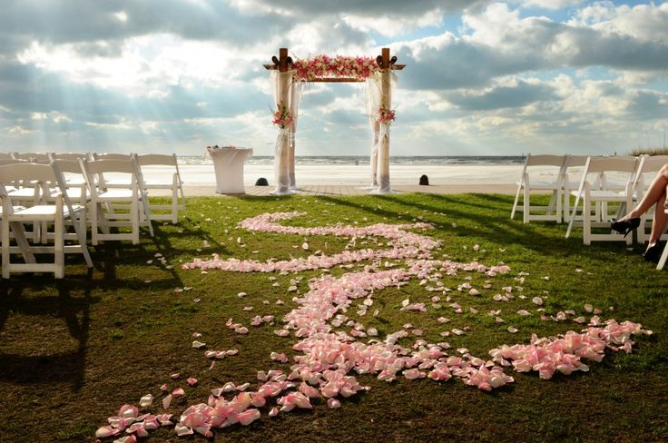 Florida Beach Wedding with Pink Flower Aisle Petals - Clearwater Beach Wedding at the Sandpearl Resort - Grey & Aqua Destination Wedding - Photographer Livingston Galleries