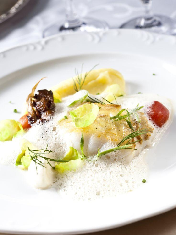 Codfish with cabbage-mushroom roll