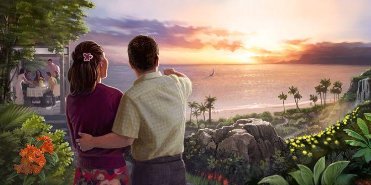 Um casal olhando para o mar no futuro Paraíso