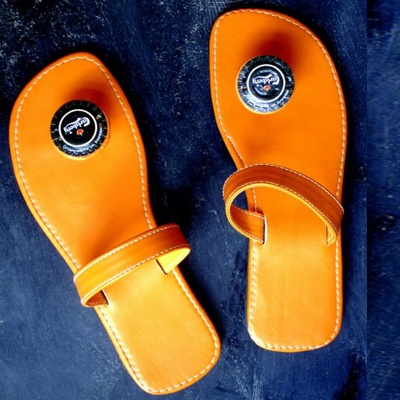 Happy High Leather Chappals with Crowncaps !!